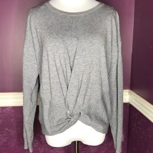 Umgee Knot Front Sweater- Grey